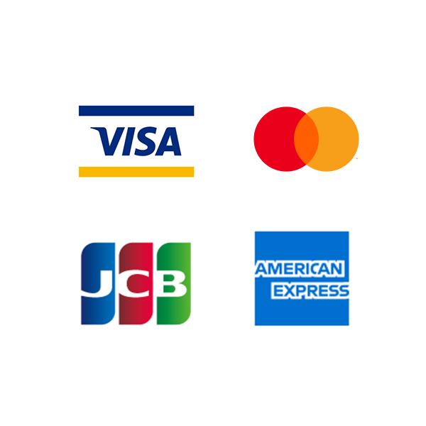 例)VISA, Master Card, JCB, AMERICAN EXPRESSなど